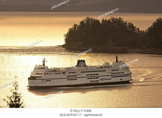 The Queen of Surrey, a BC ferry prepares to dock in Gibsons, Vancouver coast & mountain region, British Columbia, Canada