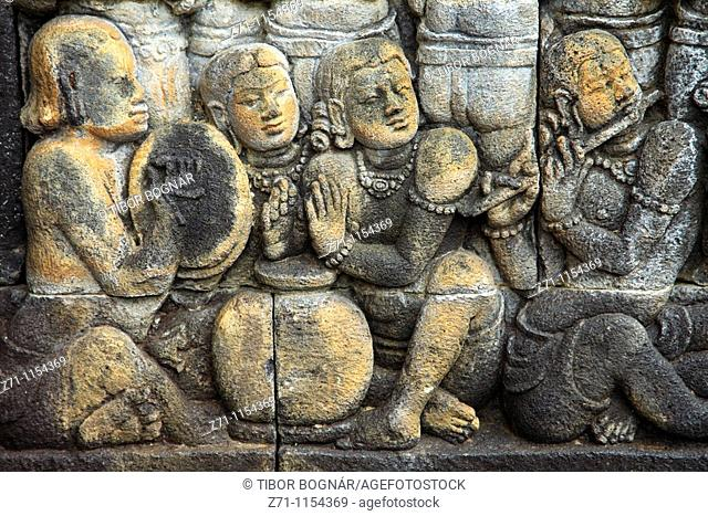 Indonesia, Java, Borobudur Temple, sculpture, stone carving, relief, detail