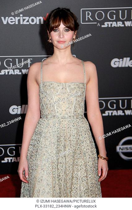 """Felicity Jones 12/10/2016 The World Premiere of """"""""Rogue One: A Star Wars Story"""""""" held at the Pantages Theatre in Los Angeles"""