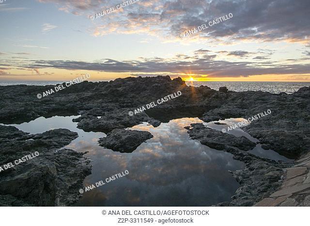 Sunset from Tacoro beach El Hierro Canary islands Spain