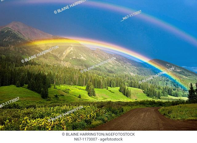 Double Rainbow, Washington Gulch trailhead, near the town of Gothic, near Crested Butte, Colorado USA