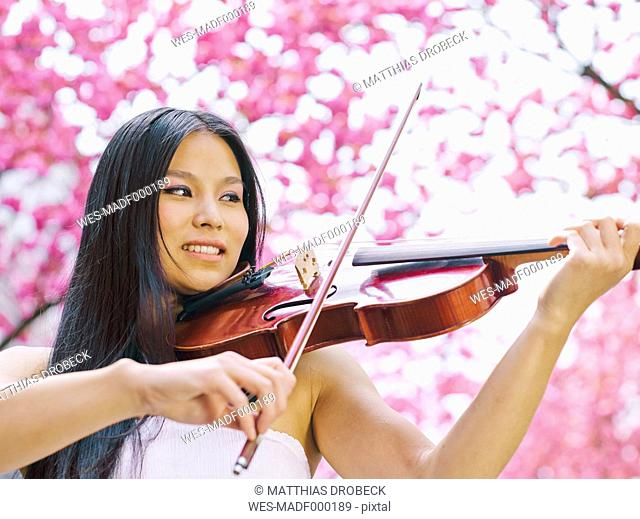 Portrait of female viola player in front of blossoming cherry tree