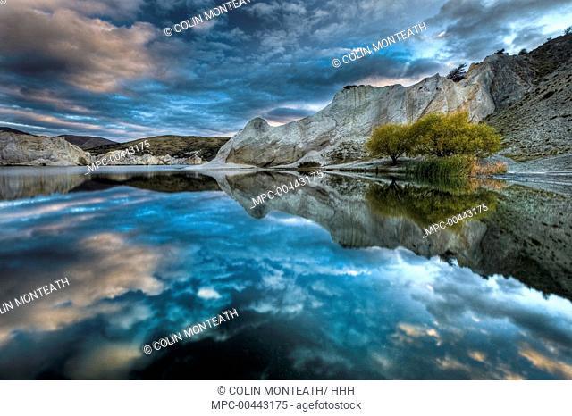 Reflection on Blue Lake, St Bathans, Central Otago, New Zealand