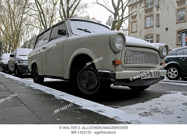Parked snowy Trabi vintage car, Trabbi, Trabant, Germany, Europe
