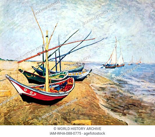 Painting titled 'Fishing boats on the beach at Saintes-Maries' by Vincent van Gogh (1853-1890) a Dutch Post-Impressionist painter. Dated 19th Century