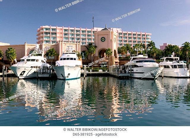 Bahamas, New Providence Island, Nassau: Atlantis Resort and Casino, Paradise Island. Atlantis Resort Marina, Morning