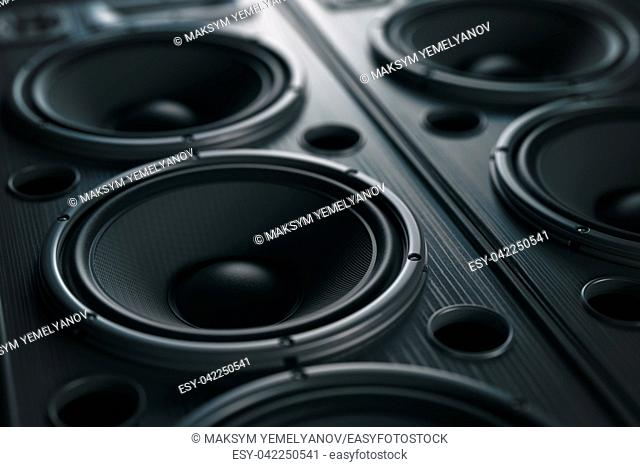 Multimedia acoustic sound speaker system. Music close up black background. 3d illustration