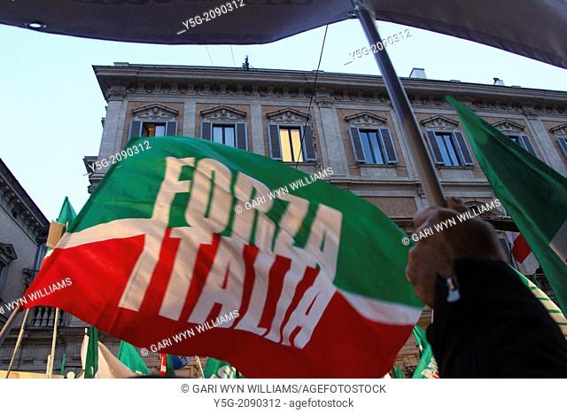 Rome, Italy 27 November 2013 Silvio Berlusconi making a public address to his supporters prior to being ousted from Italian parliament after tax fraud