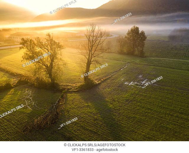 Franciacorta aerial view, Brescia province, Lombardy district, Italy