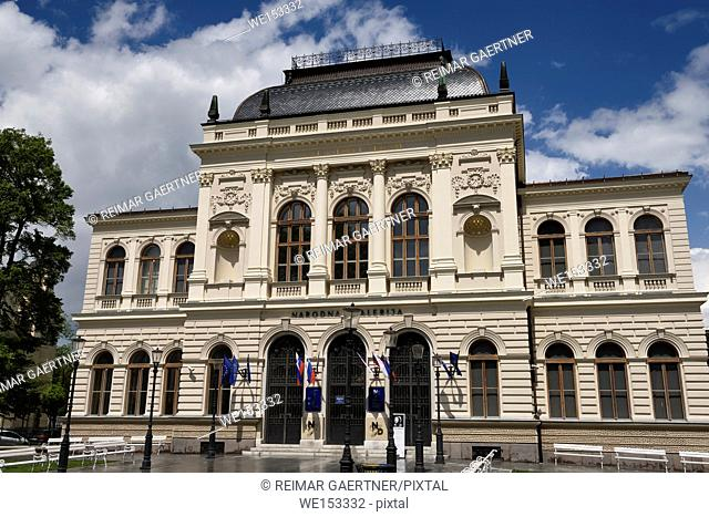 Renovated facade of the National Gallery of Slovenia after a rain storm in Ljubljana Slovenia built in 1896 by architect Skabrout