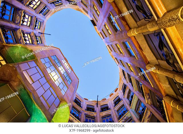 View of inner courtyard, Casa Mila, La Pedrera, Barcelona, Catalonia, Spain