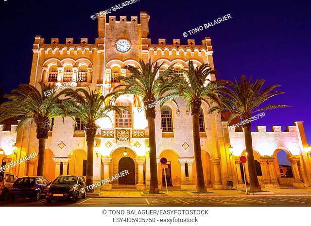 Ciutadella Menorca city town Hall sunset in Ciudadela Balearic Islands