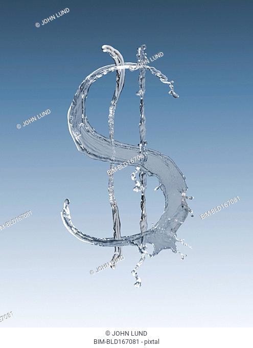Splashing water forming dollar sign