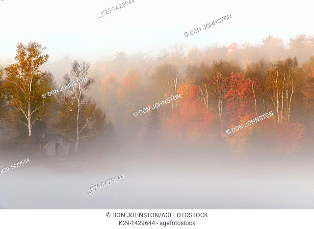 Morning fog on Bass Lake Greater Sudbury Ontario