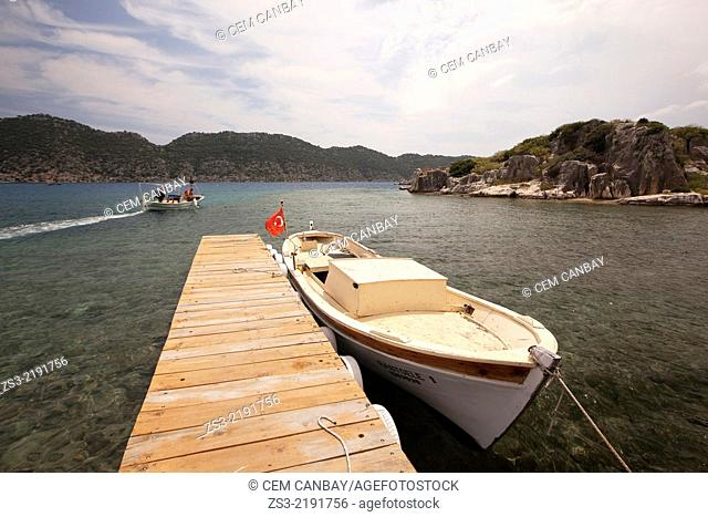 Fisherman boat leaving Kalekoy for a morning catch, Antalya Region, Turkey, Turkish Riviera, Europe