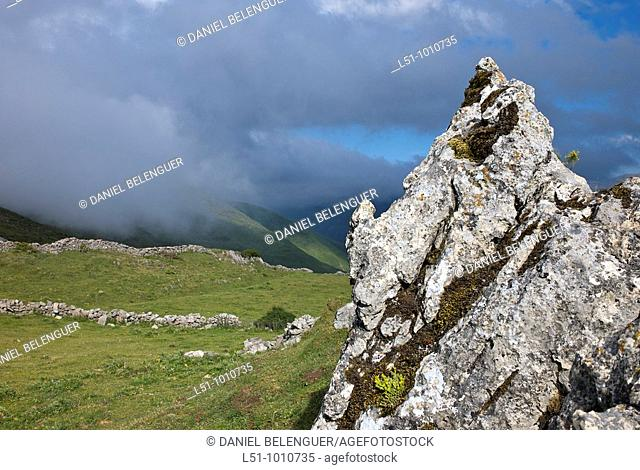 Landscape of rocks and meadows in Somiedo natural park