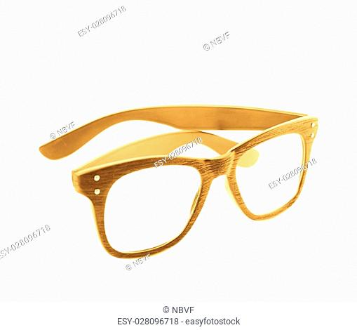 92bf5e0ac69 Pair of wooden textured optical reading glasses isolated over the white  background