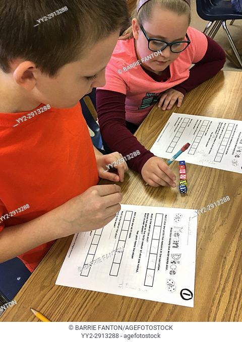 6th Graders Working on Math Problem, Wellsville, New York, USA