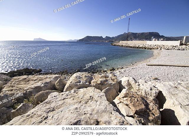 View from the Ifach penyon rock in Calpe coast Alicante Spain