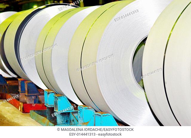 Rolls of steel sheet inside of plant