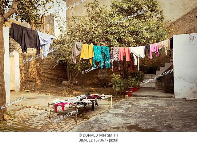 Laundry drying on clothesline in backyard