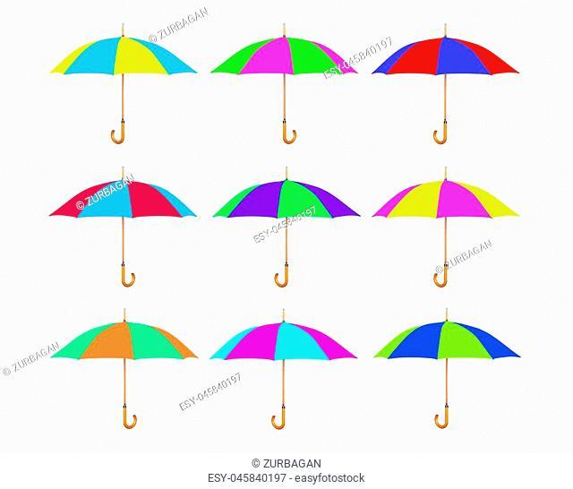 Set of multicolored umbrella isolated on white background
