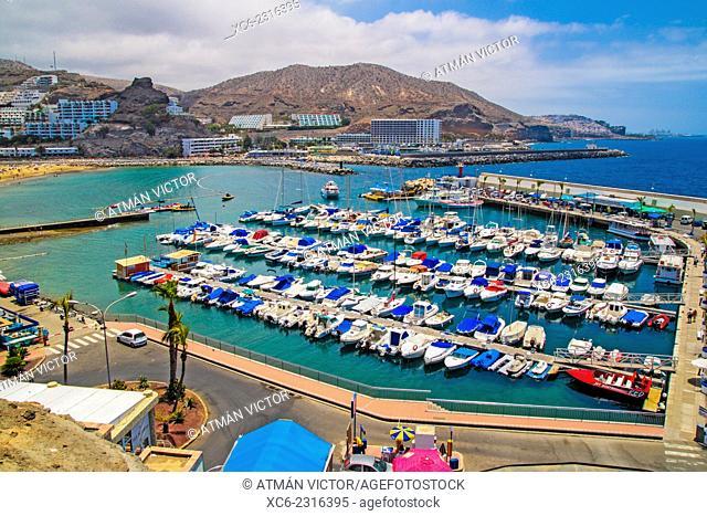 Beach and marina of Puerto Rico municipality. Gran Canaria island