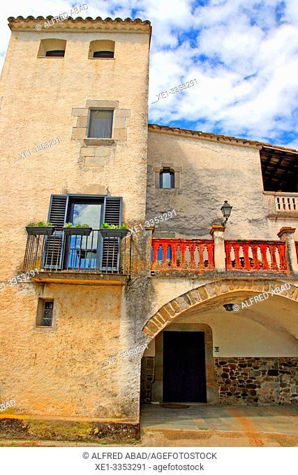 balcony, Cal Sagrista, traditional housing, neighborhood of the Church, Sant Gregori, Vall de Llémena, Girona, Catalonia, Spain