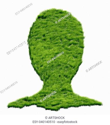 Abstract illustration of human head made of grass