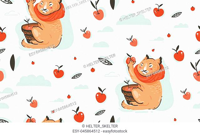 Hand drawn vector abstract greeting cartoon autumn illustration seamless pattern with cute cat character collected apple harvest with berries