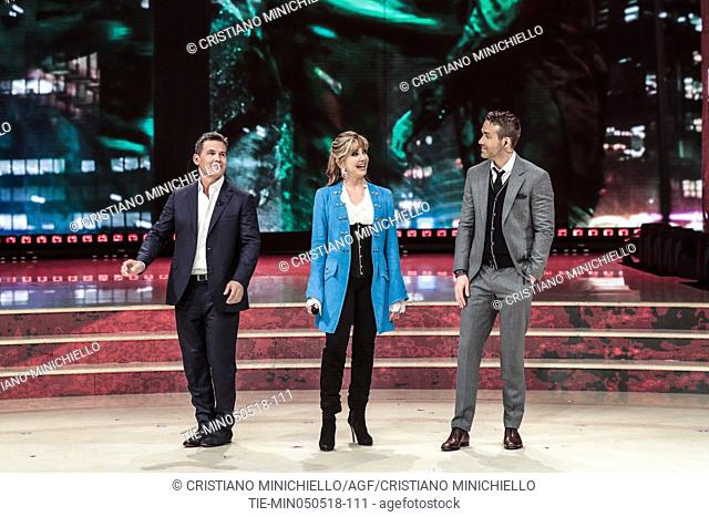 Ryan Reynolds, tv presenter Milly Carlucci, Josh Brolin during the tv show Dancing with the stars, Rome, ITALY-05-05-2018