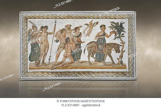 Picture of a Roman mosaics design depicting scenes from the Life of Dionysus, from the ancient Roman city of Thysdrus, House of Silenus
