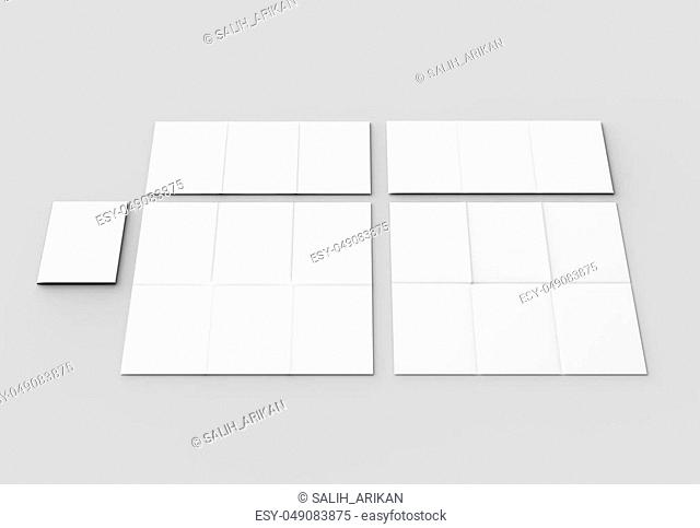 12 page leaflet - French fold vertical brochure mock up isolated on soft gray background. 3D illustrating