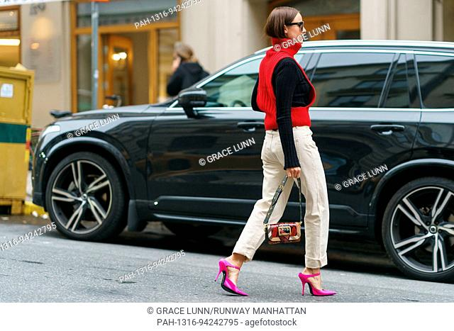 Lena Lademann posing outside the Totême runway show during Stockholm Fashion Week - Aug 31, 2017 - Photo: Runway Manhattan/Grace Lunn ***For Editorial Use...