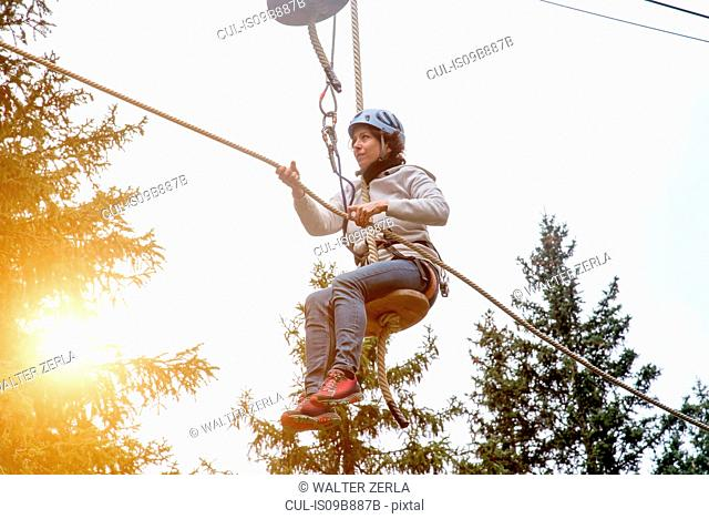 Woman on zip wire