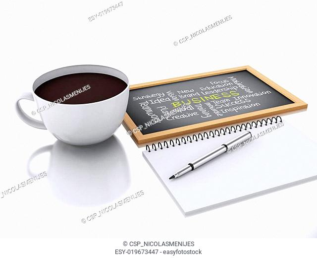3d notepad and cup of coffee. workplace concept on white backgro
