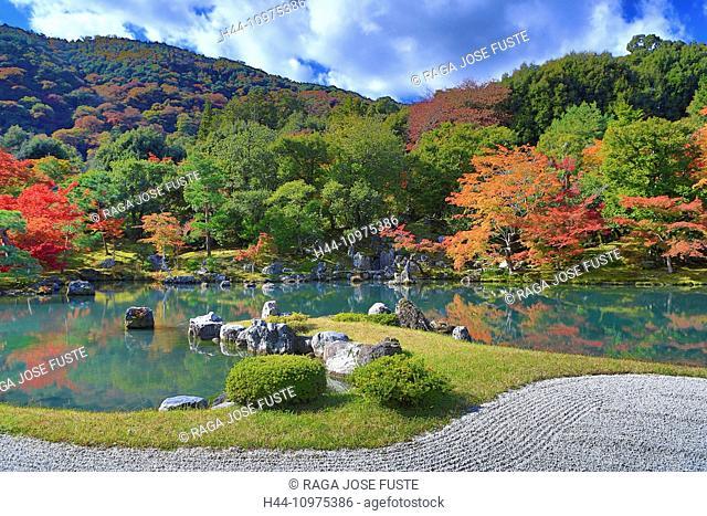 Japan, Asia, Kansai, Kyoto, Japanese, Landscape, Temple, Tenryu, Tenryu-ji, arashiyama, autumn, fall, foliage, garden, gate, momiji, no people, pond, red