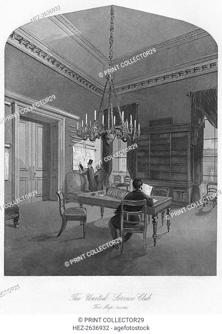'The United Service Club. The Map room', c1841. Artist: Henry Melville