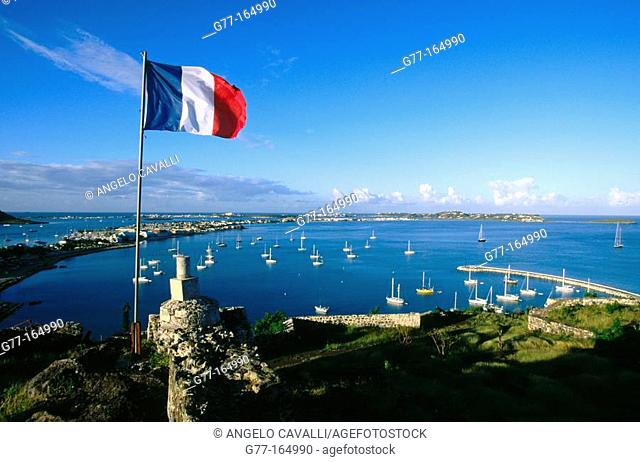 Flag at Fort Marigot. Saint-Martin. Department of Guadeloupe (France)