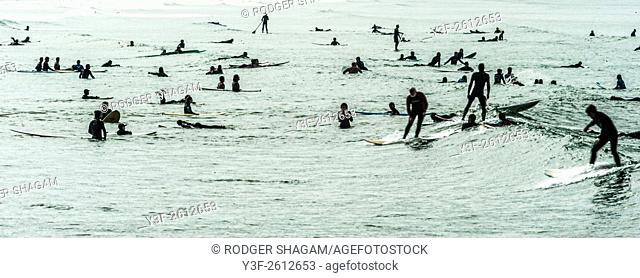 Crowded day at the surf spot. Cape Town, South Africa