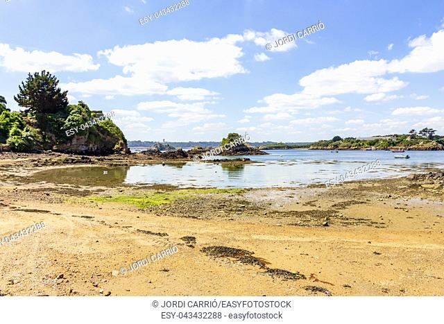 View of the coast of the island of Bréhat, the Côtes-d'Armor in the Bretagne, in the low sea