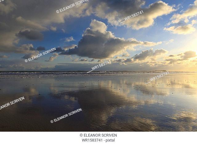 Farne Islands reflections, from Bamburgh beach, Bamburgh, Northumberland, England, United Kingdom, Europe