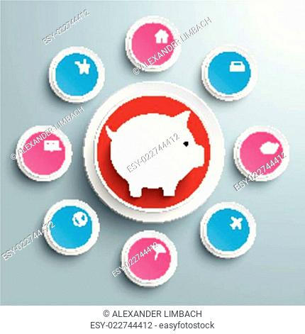 Infographic Piggy Bank Circles With Wishes PIAd