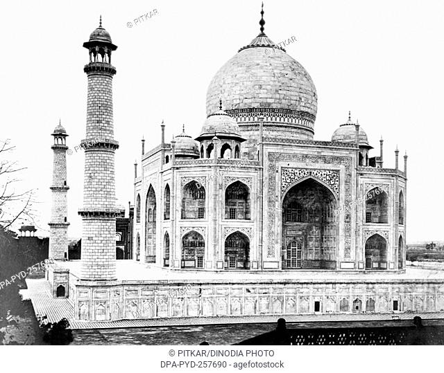 old vintage lantern slide of taj mahal, Agra, uttar pradesh, India, Asia