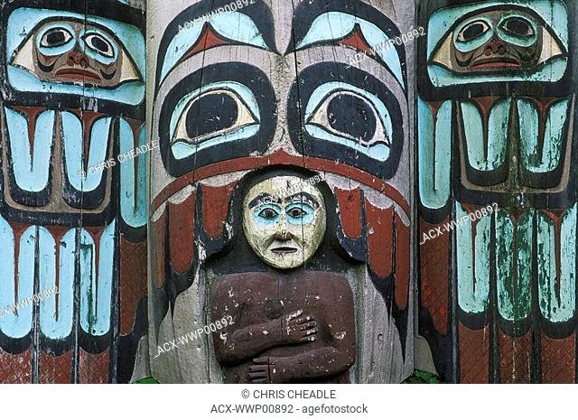 USA, Alaska, Totem Pole details from Totem Bight State Historical Park in Ketchikan