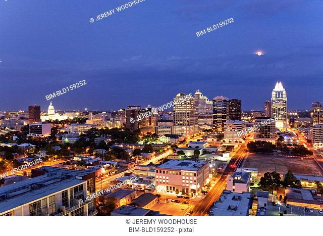 Aerial view of Austin cityscape illuminated at night, Texas, United States