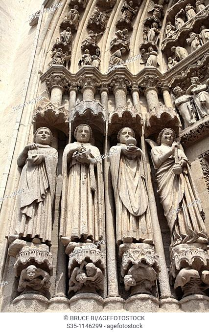 Saint statues decorated the entrance of Cathedral Notre Dame, Amiens, Picardy, France