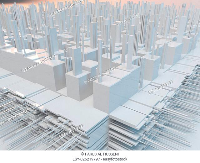 White complex city with reflection and many details. 3d futurist city with buildings on gray background