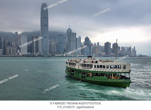 A star ferry in the Victoria Harbour, Hong Kong, China