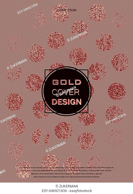 Rose quartz glossy background. Metallic texture. Gold Pink metal. Trendy template for New Year, Wedding, Birthday, Flyers, Logo Banners Party Invitation card
